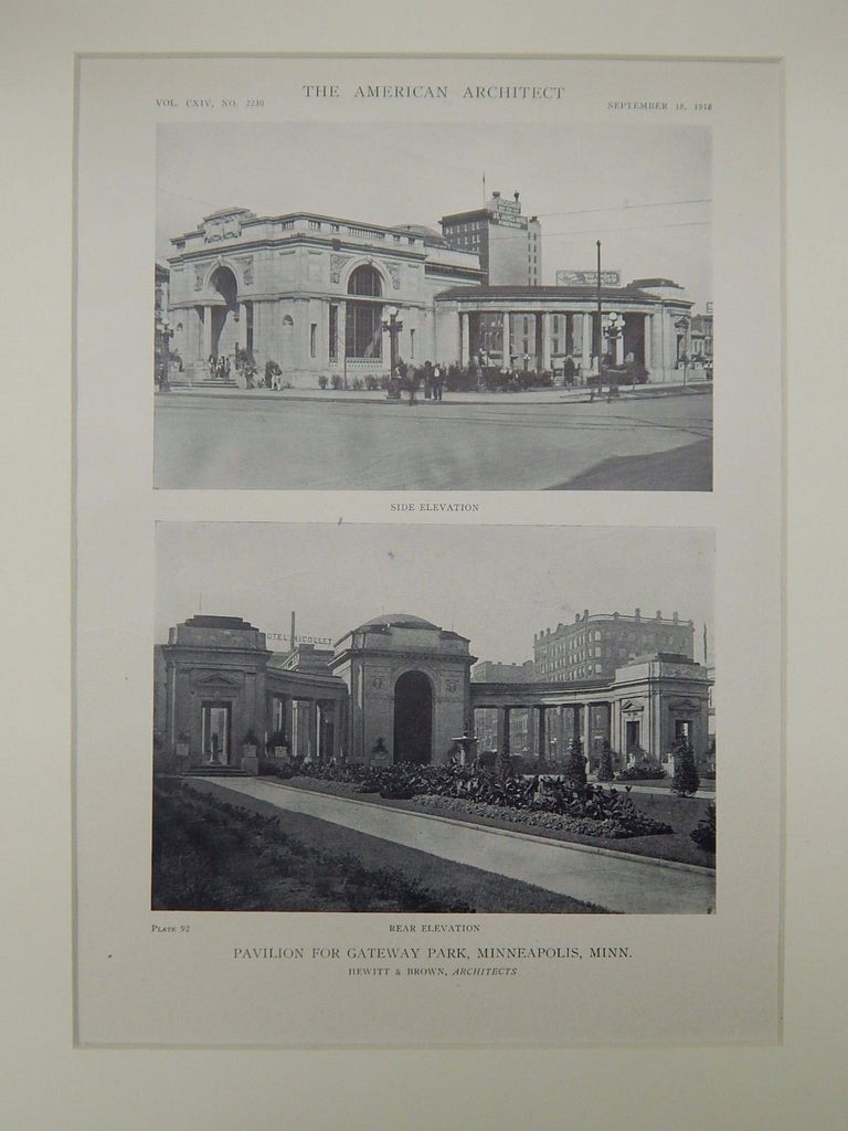 Elevations, Gateway Park Pavilion, Minneapolis, MN, 1918, Lithograph. Hewitt & Brown.