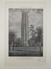 Bok Singing Tower, Mountain Lakes, FL, 1929, Lithograph. Milton B. Medary.