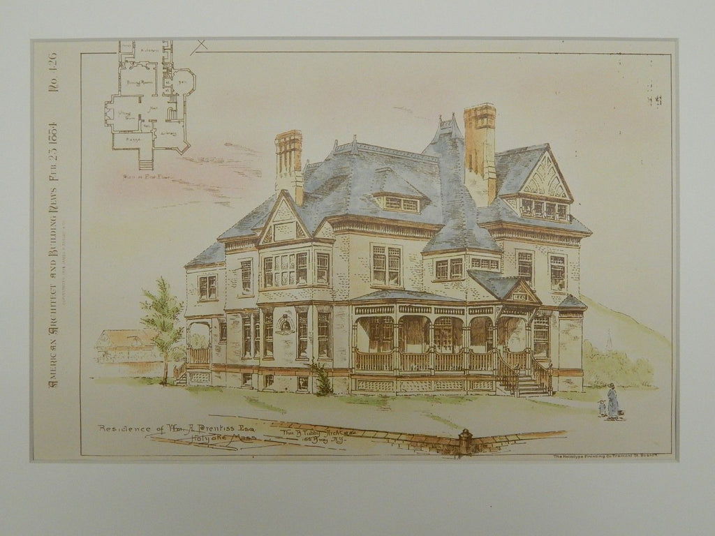 Residence of Wm. A. Prentiss, Esq., Holyoke, MA, 1884, Original Plan. Wm. B. Tubby.