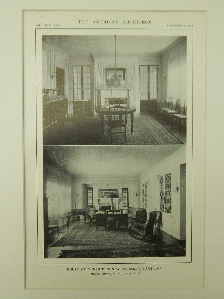 Interior, House of Winship Nunnally, Atlanta, GA, 1914, Lithograph. Hentz & Reid.