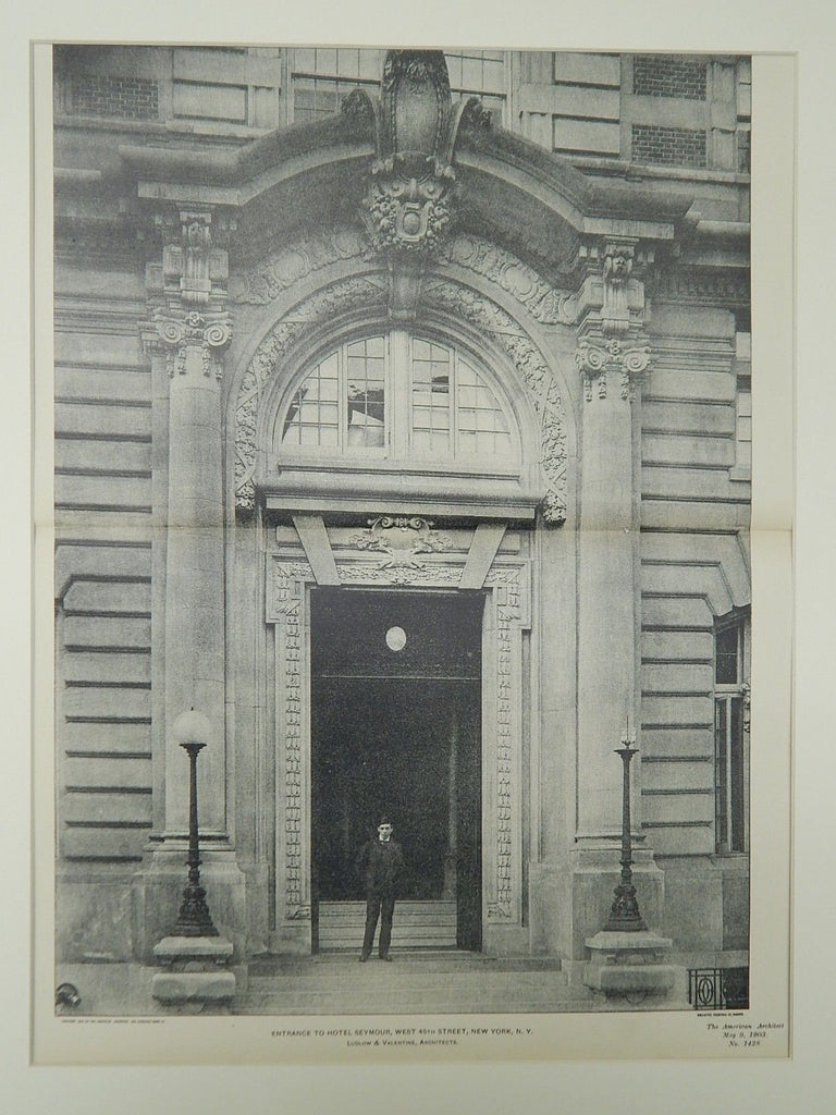 Entrance to Hotel Seymour, West 45th Street, New York, NY, 1903, Photogravure. Ludlow & Valentine.