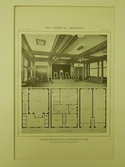 Interior, Oddfellows' Building, Northampton, MA, 1914, Lithograph. Karl Scott Putnam.