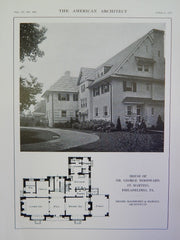 House of Dr. George Woodward, St. Martins, Philadelphia, PA, 1914 Lithograph. Goodwin & Hawley.