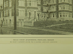 Belle Court Apartments, Portland, OR, 1914, Lithograph.  Ellis F. Lawrence & Wm. G. Halford.