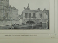 Old Palace and Emperor William Monument, Berlin, Prussia, 1901, Lithograph.