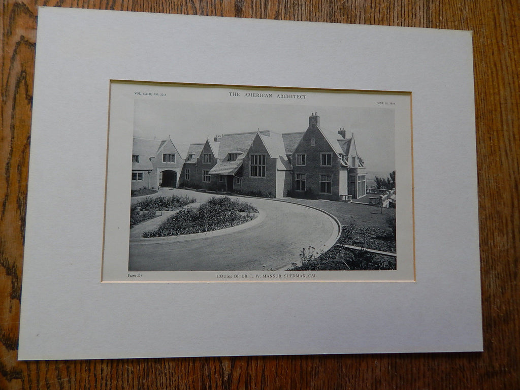 House of Dr. L.W. Mansur, Exterior, Sherman, CA, 1918, Lithograph. Morgan, Walls & Morgan.
