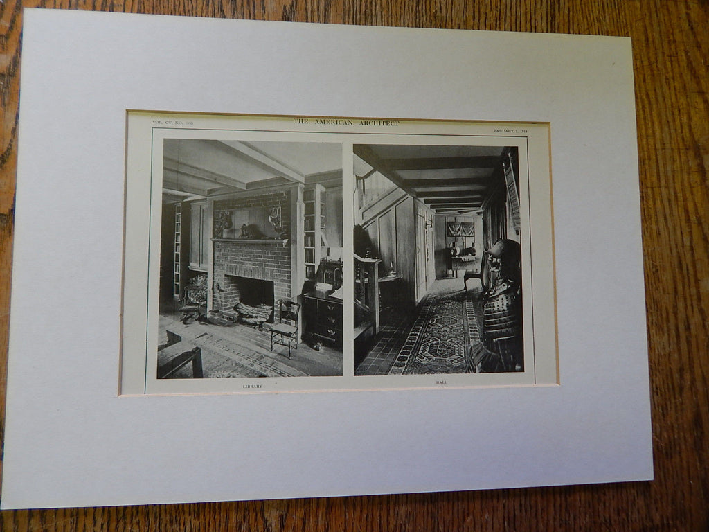 Copy of House of Mr. C.S. Waldo,Jr., Hall, Brookline,MA, Lithograph,1914. Mr. J. Lovell Little, Jr.