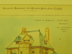 House at Carpenter Station, PRR, Philadelphia, PA, 1888, Original Plan. Cope & Stewardson.