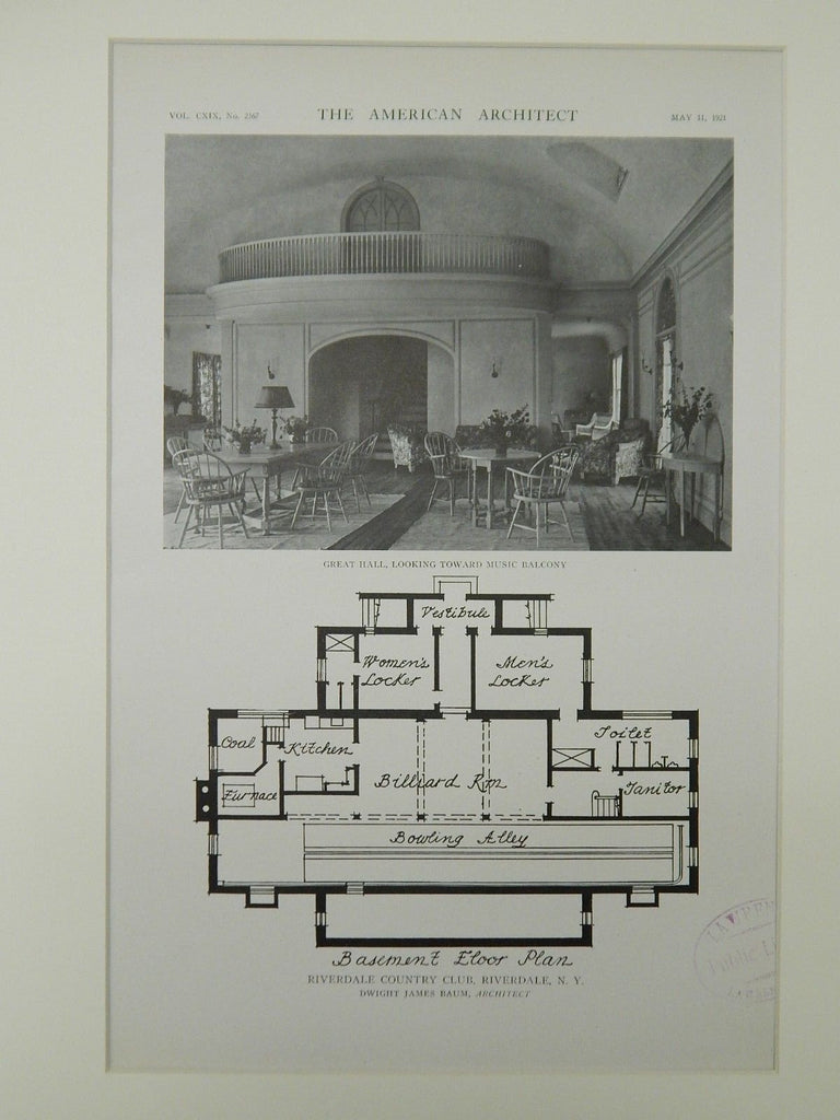 Great Hall & Basement, Riverdale Country Club, Riverdale, NY, 1921, Lithograph. Dwight James Baum.