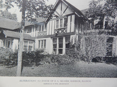 House E.L. Glaser,Alterations to Exterior, Glencoe, IL,1918,Lithograph. Marshall & Fox.