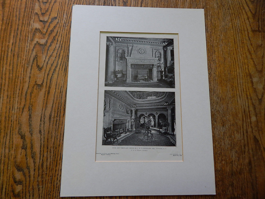 Hall& Fireplace, House of F.W.R. Eschmann, ESQ.,Yonkers, NY, 1906,Lithograph. F.A. de Meuron.