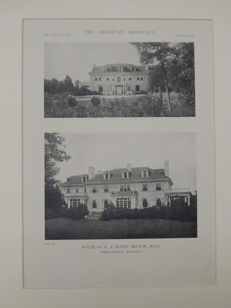 House of W. A. Dupee, Milton, MA, 1918, Lithograph. James Purdon.