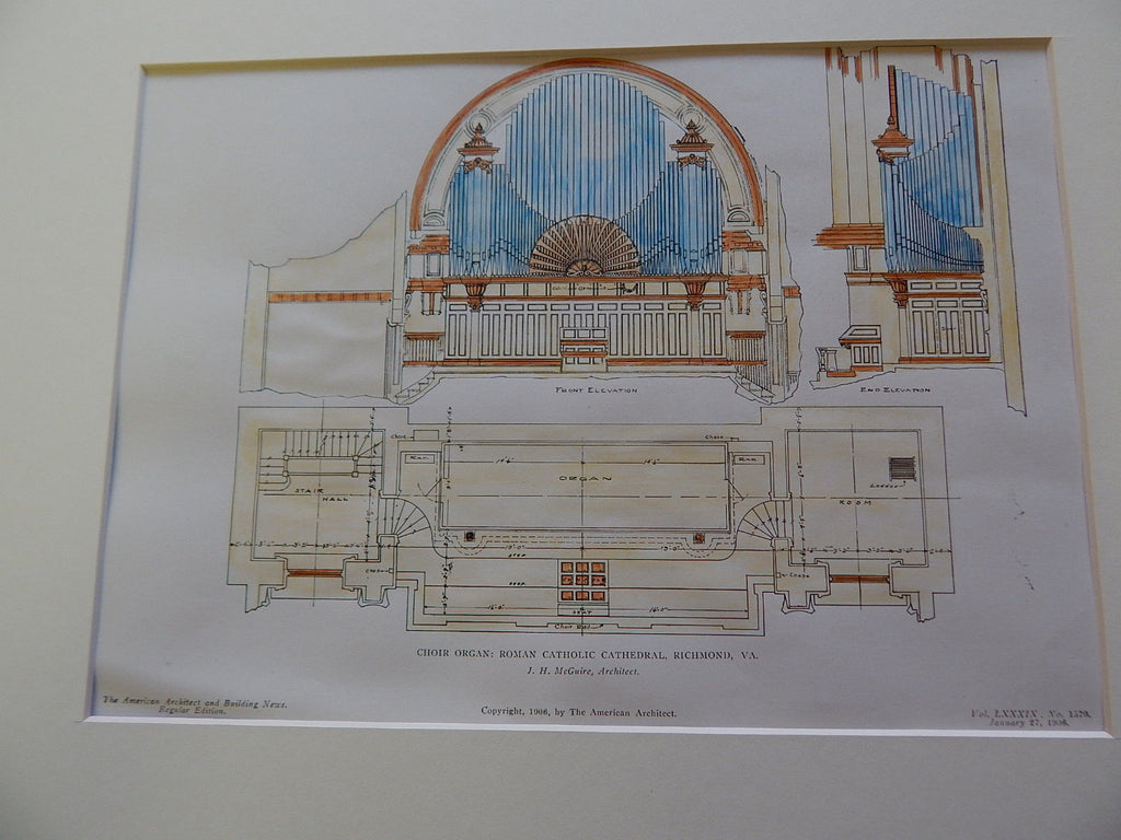 Choir Organ. Roman Catholic Cathedral. Richmond, VA. 1906. Original Plan. J.H. McGuire.