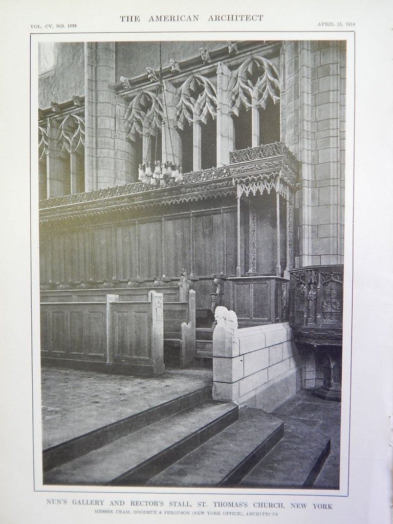 Nun Gallery & Rector's Stall in St. Thomas's Church, NY, 1914, Lithograph. Cram, Goodhue & Ferguson.