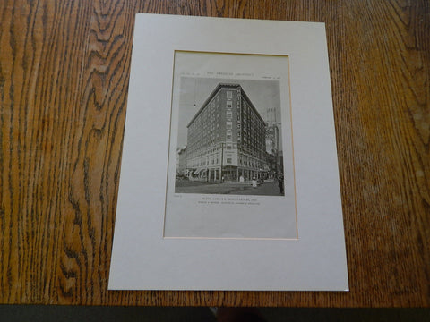 Hotel Lincoln, Indianapolis, IN, 1919, Lithograph. Robush & Hunter.