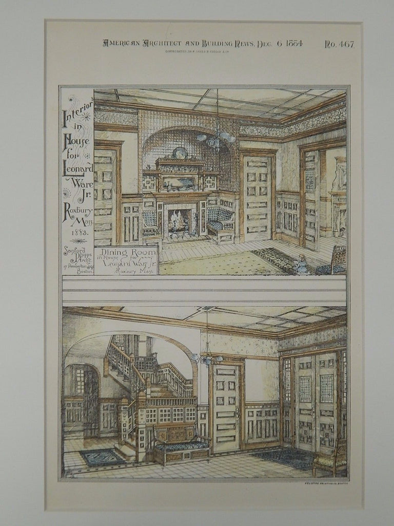 Interior, House for Leonard Ware Jr., Roxbury, MA, 1884, Original Plan. Sanford Phipps.