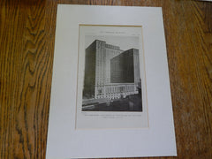 Exterior, Commodore Hotel, Pershing Square, New York, NY, 1919, Lithograph. Warren & Wetmore.