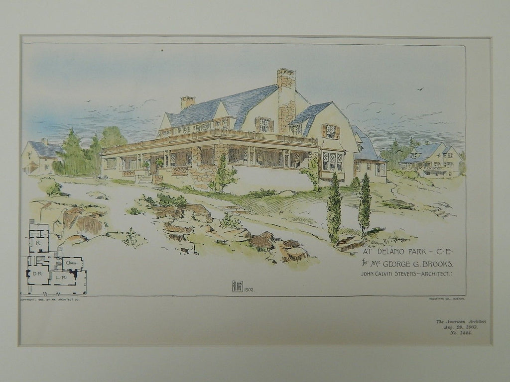 Residence for George G. Brooks, Delano Park, ME, 1903, Original Plan. John Calvin Stevens.