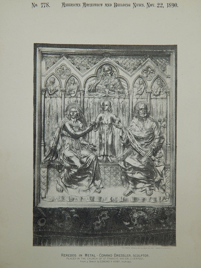 Metal Reredos, Church of St. Francis Xavier, Liverpool, England, 1890,Lithograph.  Edmund H. Kirby.