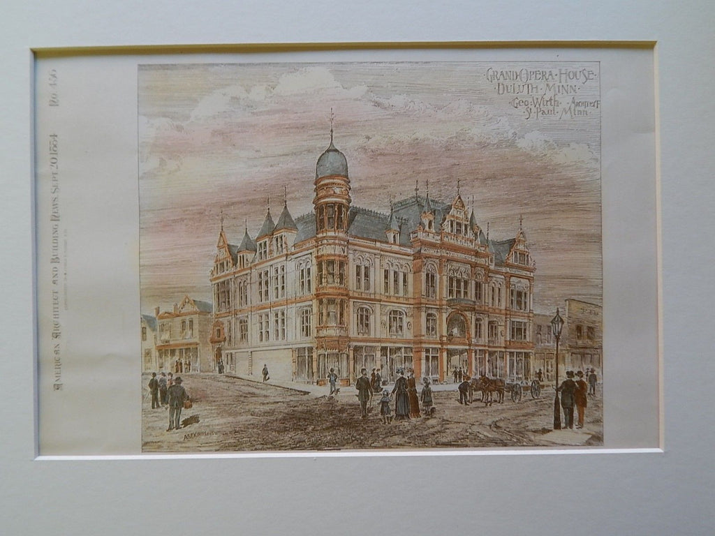 Grand Opera House, Duluth, MN, 1884, Original Plan. Geo. Wirth.