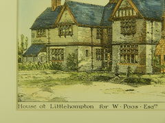 House for W. Paas, Littlehampton, West Sussex, England, 1882, Original Plan. Burnell.