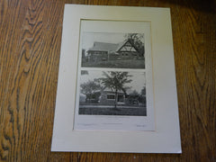 Danielson-Lincoln Memorial Library, Brimfield, MA, 1905, Lithograph. Lewis.