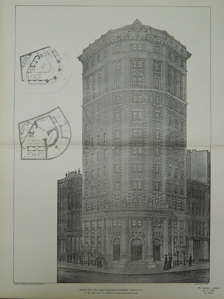 Design for the Albany Building Chambers in Albany NY, 1902. E. W. Loth and F. R. Comstock
