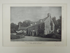 House of Charles C. Townsend, Ardsley-On-Hudson, NY, 1929, Lithograph. James C. Mackenzie.