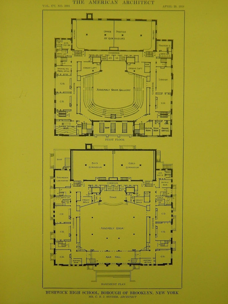 Floors, Bushwick High School, Brooklyn, NY, 1914, Original Plan. C.B.J. Snyder.