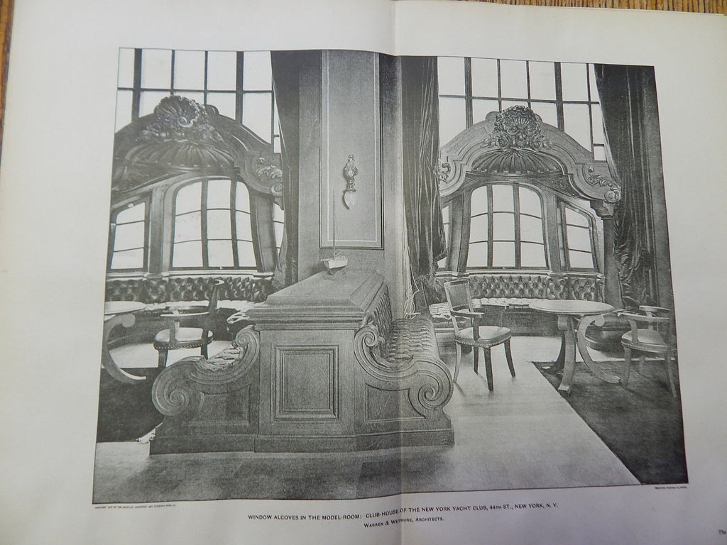 Windows Model Room: Club-House New York Yacht Club, NY,1901, Lithograph. Warren & Wetmore.