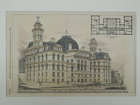 New Custom House in Saint John, New Brunswick, Canada, 1879.  Thos. S. Scott