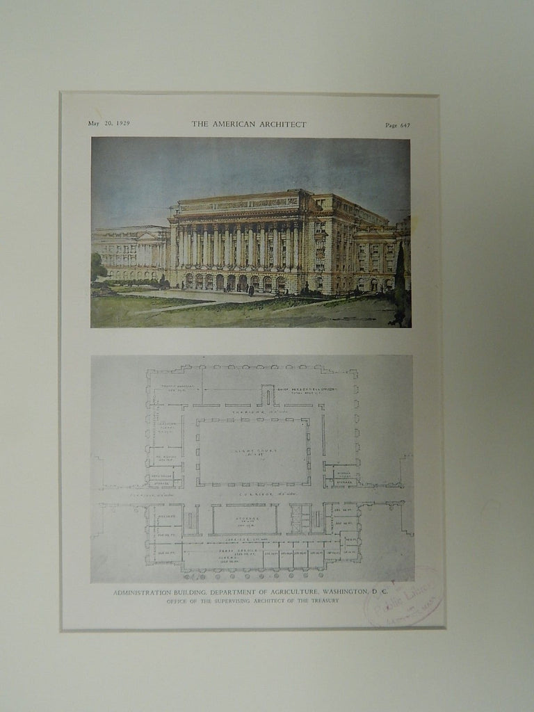 Administration Building, Dept. of Agriculture, Washington D.C., 1929, OrigPlan.