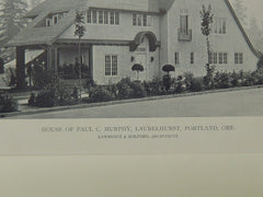 House of Paul C. Murphy, Laurelhurst, Portland, OR, 1918, Lithograph. Lawrence & Holford.