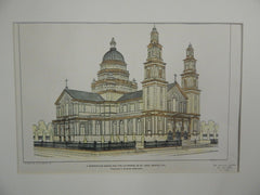 Competitive Design for Cathedral of St. John, Denver, CO, 1903, Original Plan.Frederick J. Sterner.