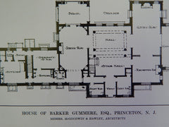 Entryway, House of Barker Gummere, Esq. Princeton, NJ, 1914 Lithograph. McGoodwin & Hawley.