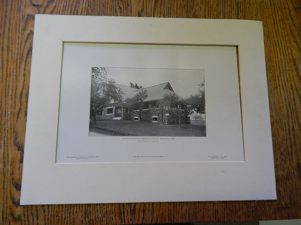Danielson-Lincoln Memorial Library 2, Brimfield, MA, 1905, Lithograph. Lewis.