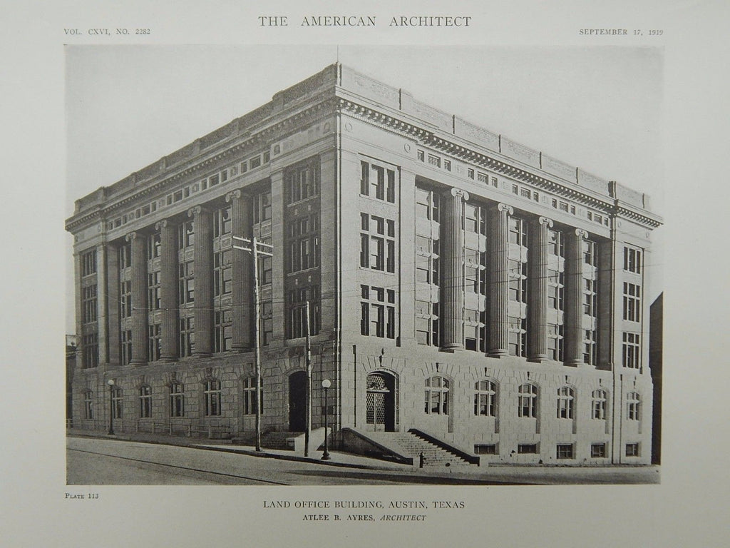 Land Office Building, Austin, TX, 1919, Lithograph. Atlee B. Ayres.