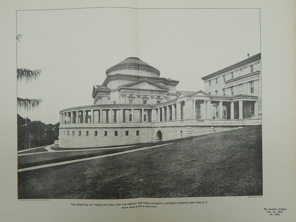 Peristyle and Library, New York University, New York, NY, 1901, Lithograph. McKim, Mead & White.