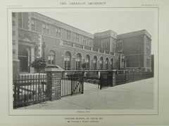 General View, Madison School, St. Louis, MO, 1914, Lithograph. William B. Ittner.