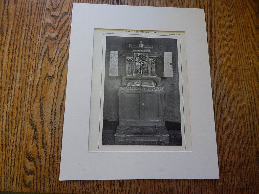 Triptych,Prie-Dieu, Overall View, Private Chapel of Bishop, Rhode Island,1914,Lithograph. Cram, Goodhue, Ferguson.