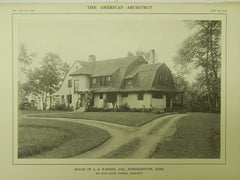House of A. S. Warren, Esq., Northampton, MA, 1914, Lithograph. Karl Scott Putnam.