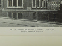 Radium Laboratory, Memorial Hospital, New York, NY, 1918, Lithograph. Palmer & Hornbostel