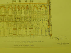 Transepts Section, Cathedral of the Sacred Heart, Newark, NJ, 1906, Original Plan. O'Rourke & Sons.