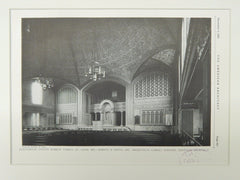 Auditorium, United Hebrew Temple, St. Louis, MO, 1928, Lithograph. Maritz & Young