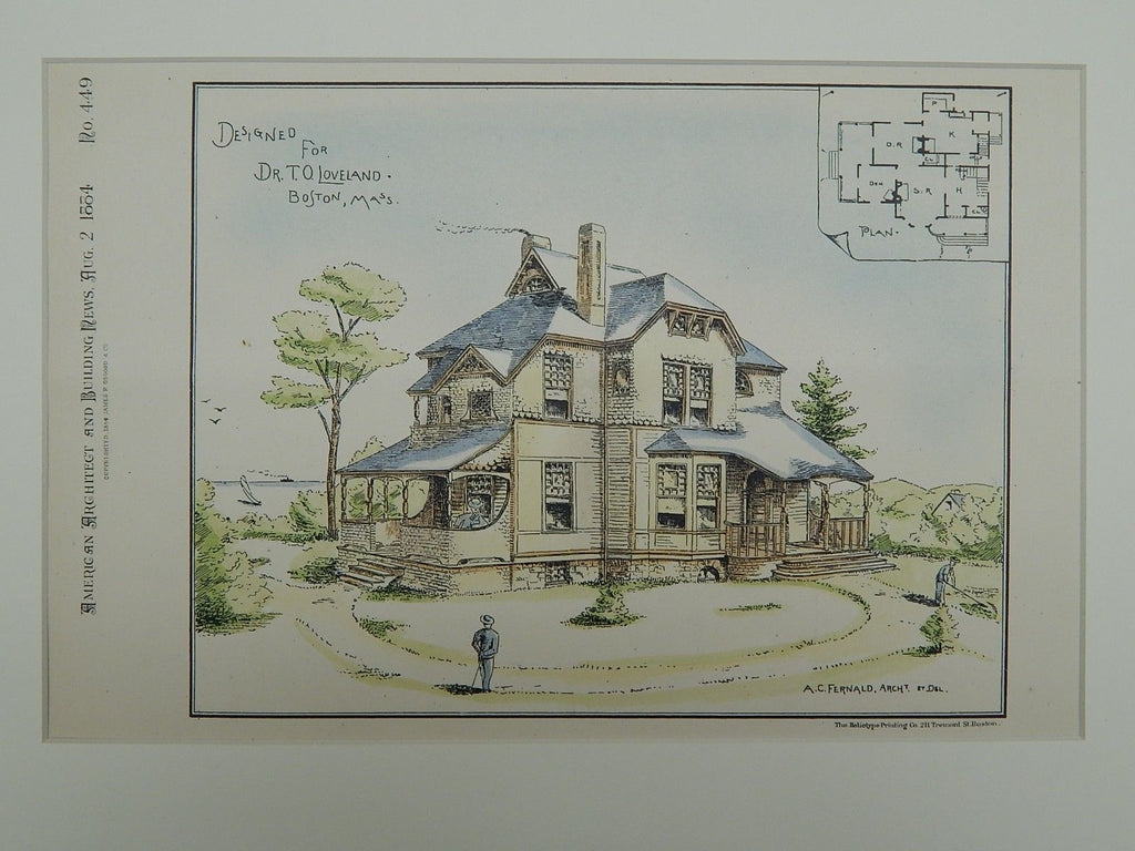 House for Dr. T. O. Loveland, Boston, MA, 1884, Original Plan. A. C. Fernald.