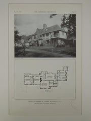 House of Richard W. Trown, Heathcote, NY, 1929, Lithograph. Walter Carl Pleuthner.