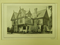 Entrance Front, Rogers Memorial Parsonage, Fairhaven, MA, 1904, Lithograph. Charles Brigham.