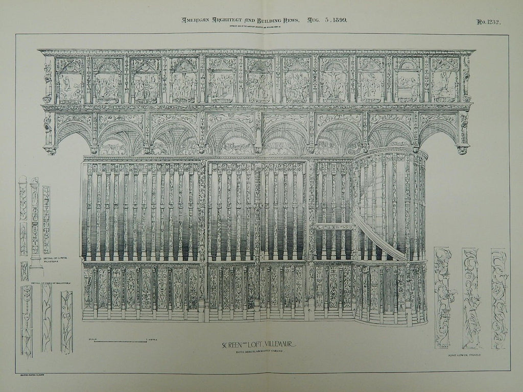 Screen and Loft, Notre-Dame de Villemaur-sur-Vanne, France, 1899, Original Plan.