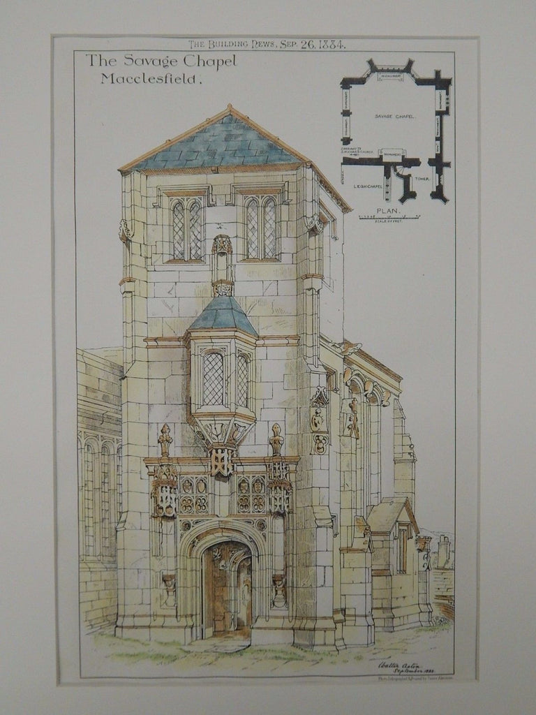 The Savage Chapel, Macclesfield, Chesire, England, 1884, Original Plan. Walter Aston.