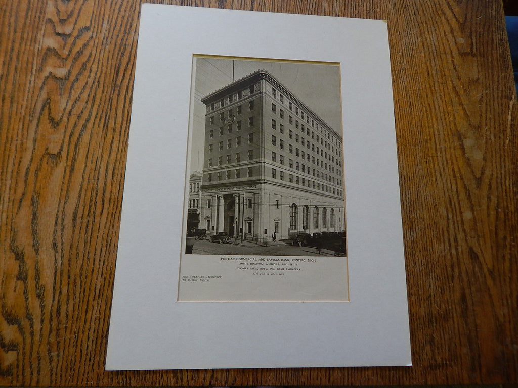 Pontiac Commercial & Savings Bank, Pontiac, MI, Lithograph,1924. Smith,Hinchman & Grylls.